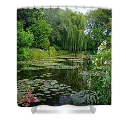 Monet's Pond With Waterlilies And Bridge Shower Curtain by Carla Parris
