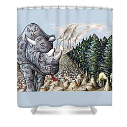 Money Against Nature - Cartoon Art Shower Curtain by Art America Online Gallery