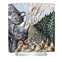 Money Against Nature - Cartoon Shower Curtain by Art America Online Gallery