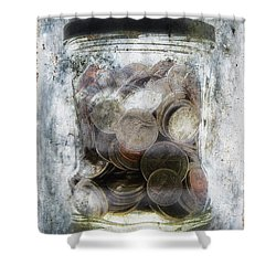 Money Frozen In A Jar Shower Curtain by Skip Nall