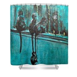 Monkey Swing Shower Curtain by Usha Shantharam