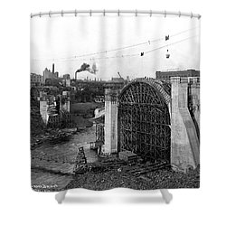 Monroe St Bridge Construction 1910 Shower Curtain by Daniel Hagerman