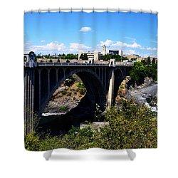 Monroe Street Bridge - Spokane Shower Curtain by Michelle Calkins