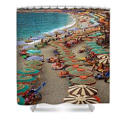 Monterosso Beach Shower Curtain by Inge Johnsson