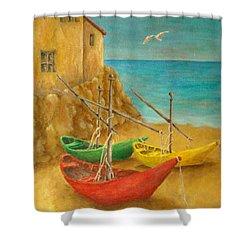 Monterosso On Riviera Di Levante Shower Curtain by Pamela Allegretto