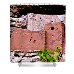 Montezuma Castle  Shower Curtain by Bob and Nadine Johnston