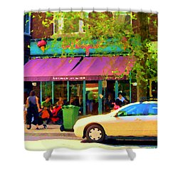 Montreal Cafe Scenes Beautiful Bilboquet On Bernard Creme Glacee Summer City Scene Carole Spandau  Shower Curtain by Carole Spandau