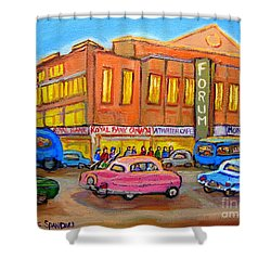 Montreal Forum Vintage Scene Shower Curtain by Carole Spandau