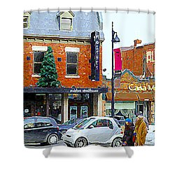 Montreal Memories Moishes Famous Steakhouse Restaurant On The Main Busy Winter Scene Carole Spandau Shower Curtain by Carole Spandau