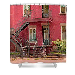 Montreal Memories The Old Neighborhood Timeless Triplex With Spiral Staircase City Scene C Spandau  Shower Curtain by Carole Spandau
