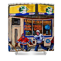 Montreal Pool Room City Scene With Hockey Shower Curtain by Carole Spandau