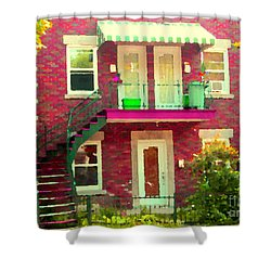 Montreal Stairs Painted Brick House Winding Staircase And Summer Awning City Scenes Carole Spandau Shower Curtain by Carole Spandau