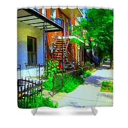 Montreal Stairs Shady Streets Winding Staircases In Balconville Art Of Verdun Scenes Carole Spandau Shower Curtain by Carole Spandau