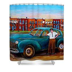 Montreal Taxi Driver 1940 Cab Vintage Car Montreal Memories Row Houses City Scenes Carole Spandau Shower Curtain by Carole Spandau