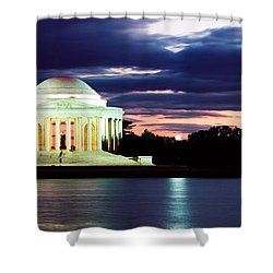 Monument Lit Up At Dusk, Jefferson Shower Curtain by Panoramic Images