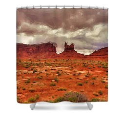Monument Valley Shower Curtain by Ayse Deniz