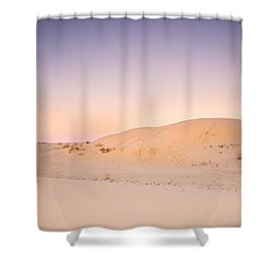 Moon And Sand Dune In Twilight Shower Curtain by Ellie Teramoto