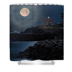 Moon Over Battery Point Shower Curtain by James Heckt