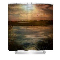 Moon Over Marsh - 35mm Film Shower Curtain by Gary Heller
