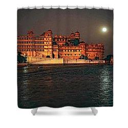 Moon Over Udaipur Shower Curtain by Steve Harrington