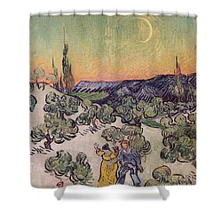 Moonlit Landscape Shower Curtain by Vincent Van Gogh