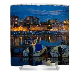 Moonrise In Karlskrona Shower Curtain by Inge Johnsson