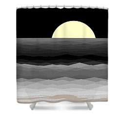 Moonrise Surf Shower Curtain by Val Arie