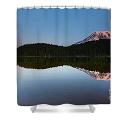 Moonset Over Rainier Shower Curtain by Mike  Dawson