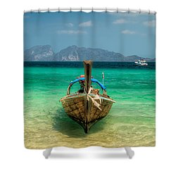 Moored Longboat Shower Curtain by Adrian Evans