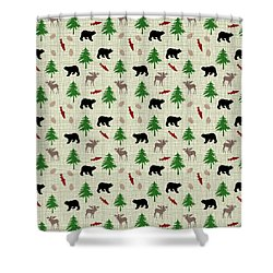 Moose And Bear Pattern Shower Curtain by Christina Rollo