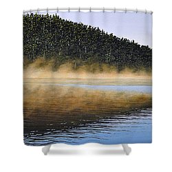 Moose Lake Paddle Shower Curtain by Kenneth M  Kirsch