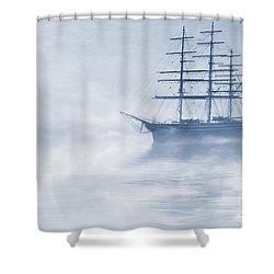 Morning Mists Cyanotype Shower Curtain by John Edwards