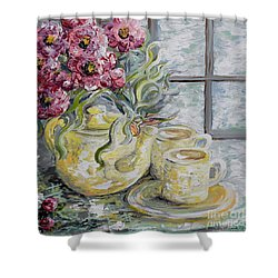 Morning Tea For Two Shower Curtain by Eloise Schneider
