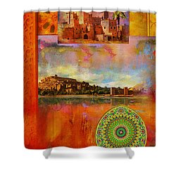Morocco Heritage Poster Shower Curtain by Catf