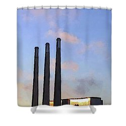Morro Bay Power Plant Shower Curtain by Methune Hively