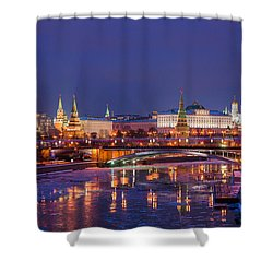 Moscow Kremlin And Big Stone Bridge At Winter Night - Featured 3 Shower Curtain by Alexander Senin