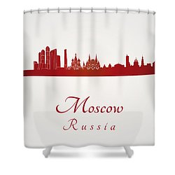 Moscow Skyline In Red Shower Curtain by Pablo Romero
