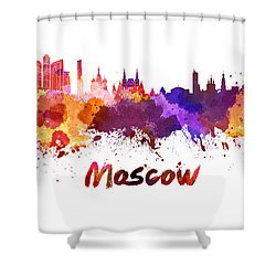 Moscow Skyline In Watercolor Shower Curtain by Pablo Romero