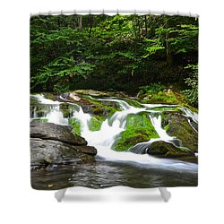 Mossy Mountain Falls Shower Curtain by Frozen in Time Fine Art Photography