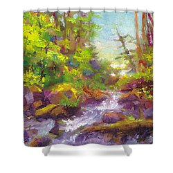 Mother's Day Oasis - Woodland River Shower Curtain by Talya Johnson