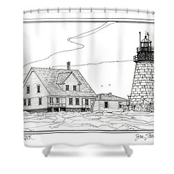 Mount Desert Rock Lighthouse Shower Curtain by Ira Shander