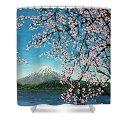 Mount Fuji Cherry Blossoms Shower Curtain by Sheena Kohlmeyer
