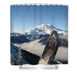 Mount Rainier Has Skis Shower Curtain by Kym Backland