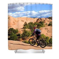 Mountain Biking Moab Slickrock Trail - Utah Shower Curtain by Gary Whitton