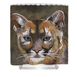 Mountain Cat Shower Curtain by Jamie Frier