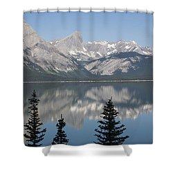 Mountain Lake Reflecting Mountain Range Shower Curtain by Michael Interisano
