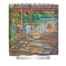Mountain Lake Shadows Shower Curtain by Kendall Kessler