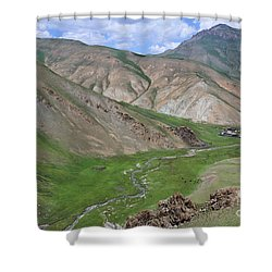 Mountain Landscape In The Tash Rabat Valley Of Kyrgyzstan Shower Curtain by Robert Preston