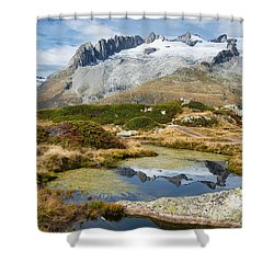 Mountain Landscape Water Reflection Swiss Alps Shower Curtain by Matthias Hauser