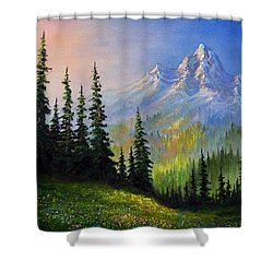 Mountain Morning Shower Curtain by C Steele